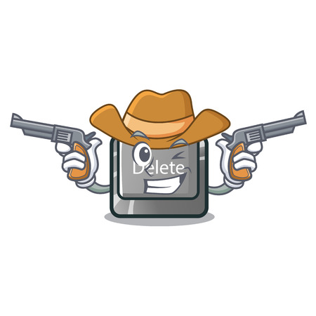 Cowboy button delete isolated with the character vector illustration