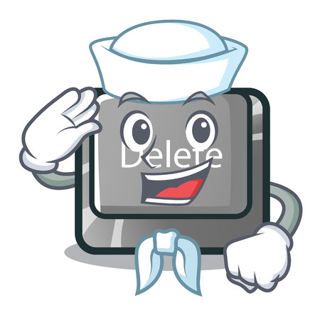 Sailor button delete isolated with the character vector illustration