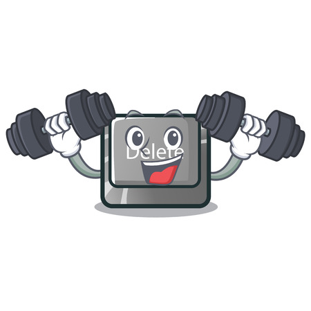 Fitness button delete isolated with the character vector illustration