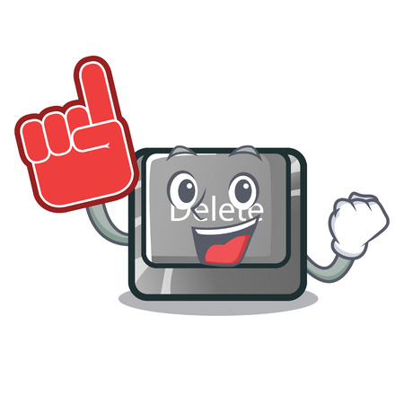 Foam finger delete button toys in shape cartoon vector illustration
