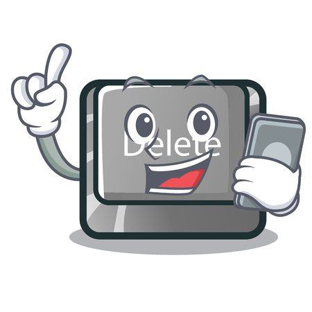 With phone button delete isolated with the character vector illustration