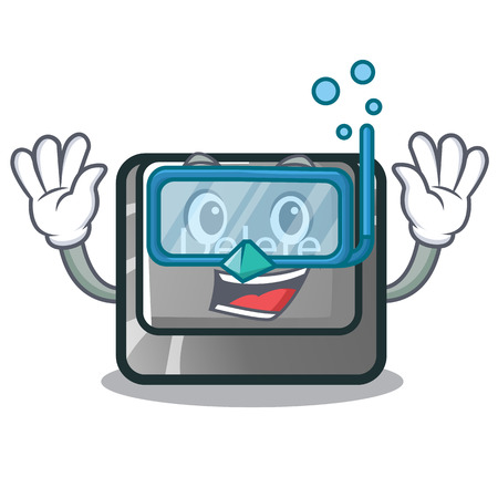 Diving cartoon delete button located on keyboard vector illustration