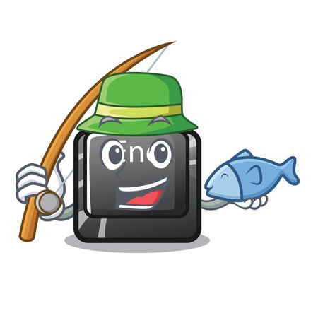 Fishing button end isolated in the cartoon vector illustration