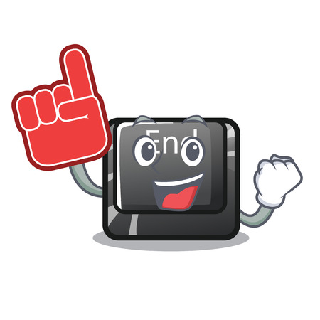 Foam finger end button located on cartoon keyboard vector illustration  イラスト・ベクター素材