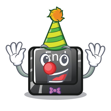 Clown end button located on cartoon keyboard vector illustration