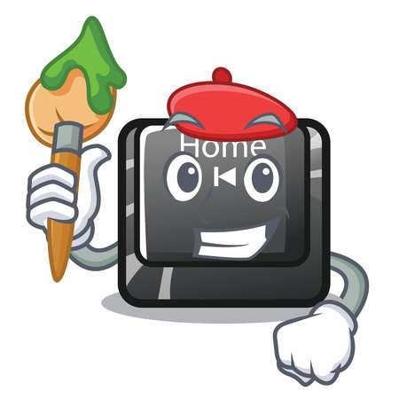 Artist home button located on character keyboard vector illustration