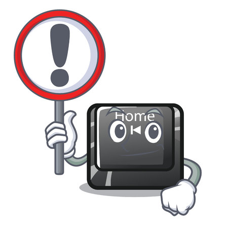With sign home button located on character keyboard vector illustration Illustration