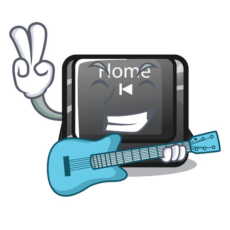 With guitar mascot toy home button attached computer vector illustration