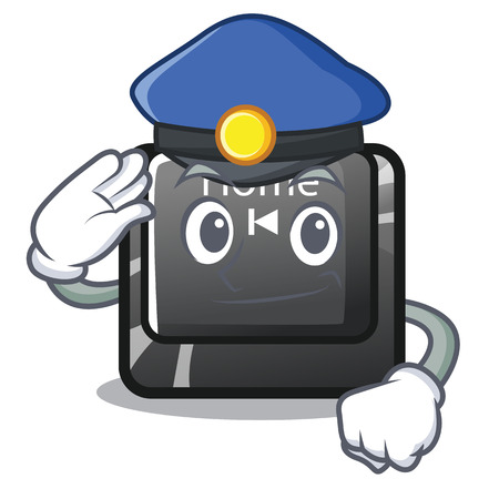Police home button located on character keyboard vector illustration Illustration