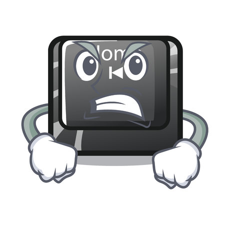 Angry mascot toy home button attached computer vector illustration