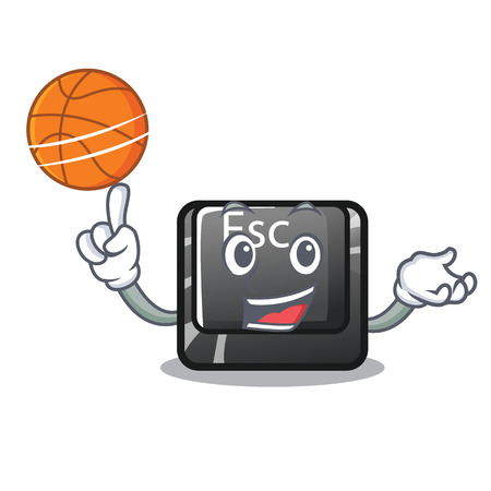 With basketball cartoon esc button attached to computer vector illustration