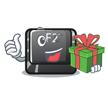 With gift button f2 isolated with the character vector illustration