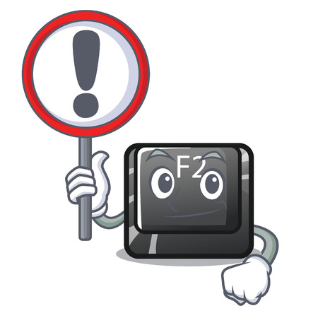 With sign button f2 in the shape character vector illustration
