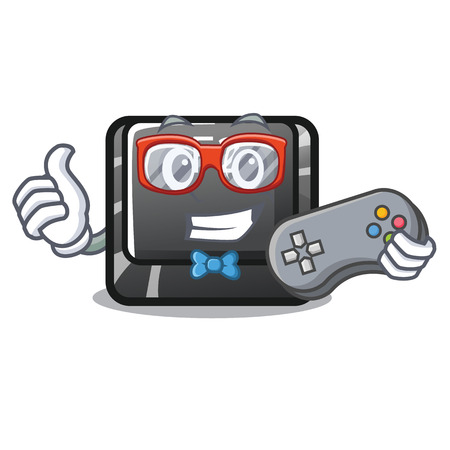 Gamer button f2 isolated with the character vector illustration