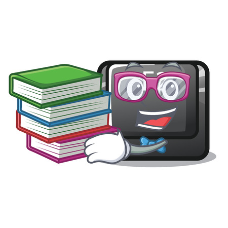 Student with book f2 button on the mascot computervector illustration