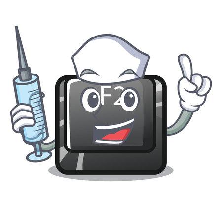 Nurse cartoon f2 button on the keyboard vector illustration