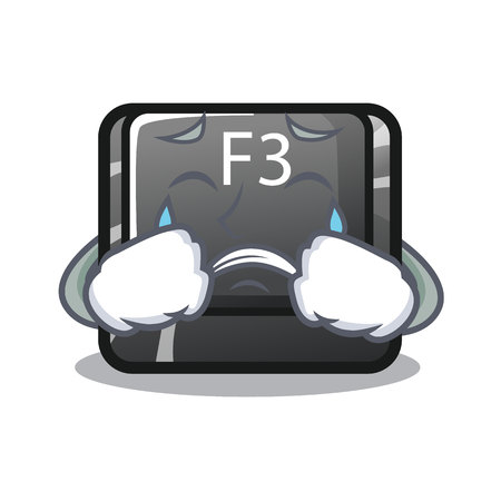 Crying button f3 in the shape cartoon vector illustration