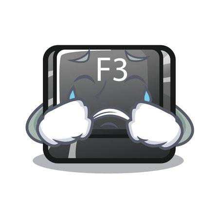 Pleurer le bouton f3 dans l'illustration vectorielle de forme dessin animé