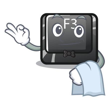 Waiter button f3 in the shape cartoon vector illustration
