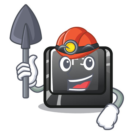 Miner button f3 in the shape cartoon vector illustration