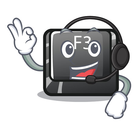 With headphone f3 button installed on cartoon computer vector illustration Vecteurs