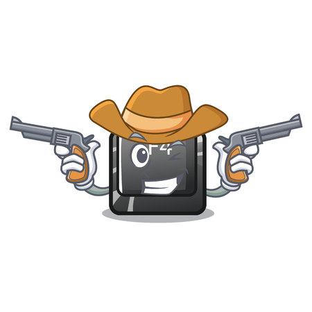Cowboy f4 button installed on cartoon keyboard