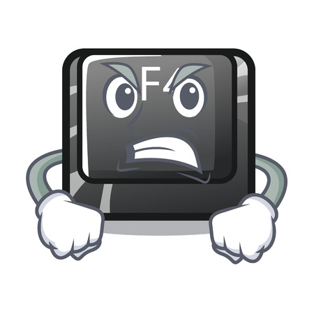 Angry button f4 in the shape cartoon vector illustration
