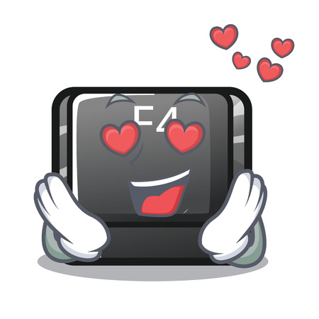 In love button f4 in the shape cartoon vector illustration