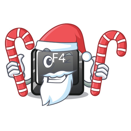 Santa with candy button f4 on the mascot computer vector illustration