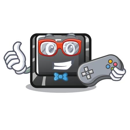 Gamer button f4 in the shape cartoon vector illustration