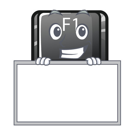 Grinning with board button f1 isolated in the mascot 写真素材 - 120208174