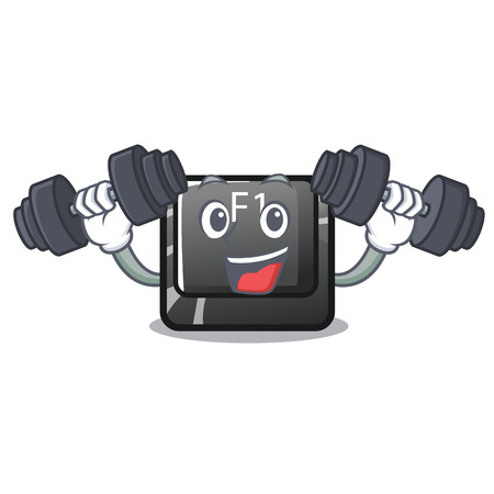 Fitness button f1 isolated in the mascot