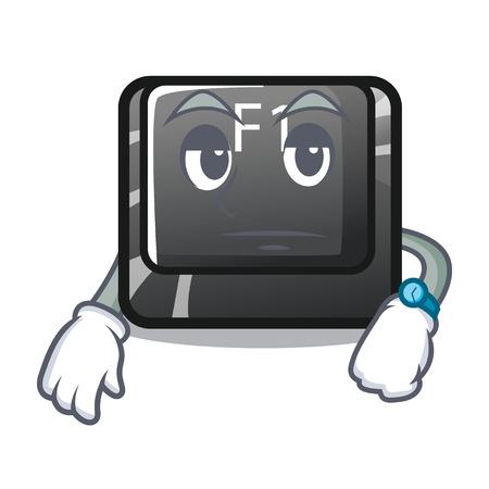 Waiting cartoon f1 button installed on keyboard Stock Illustratie