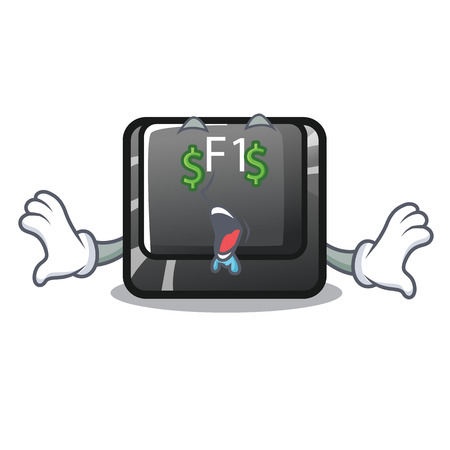 Money eye cartoon f1 button installed on keyboard Vecteurs