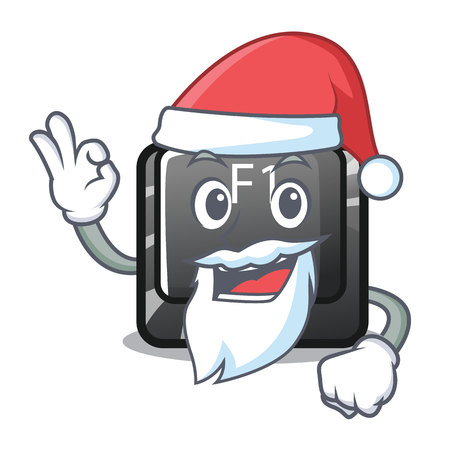 Santa cartoon f1 button installed on keyboard