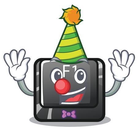 Clown cartoon f1 button installed on keyboard Vecteurs