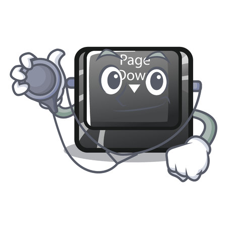 Doctor character page down button installed computer vector illustration