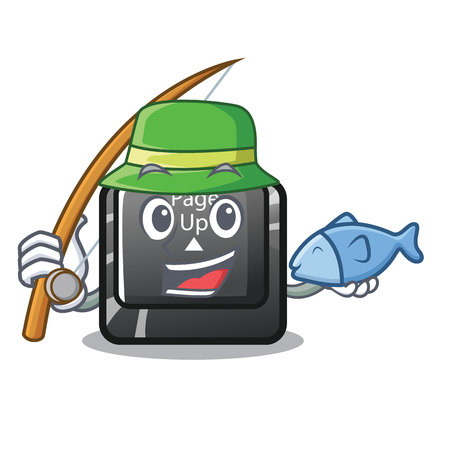 Fishing button page up on computer cartoon