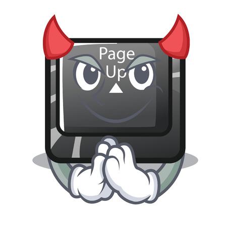 Devil button page up on computer cartoon vector illustration Illustration