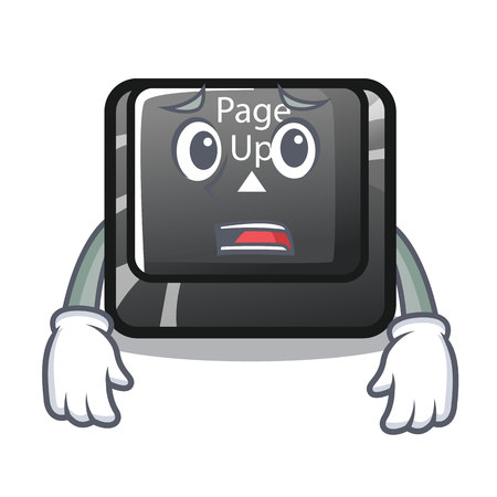 Afraid button page up on computer cartoon vector illustration