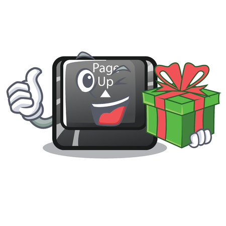 With gift button page up on computer cartoon vector illustration Illustration