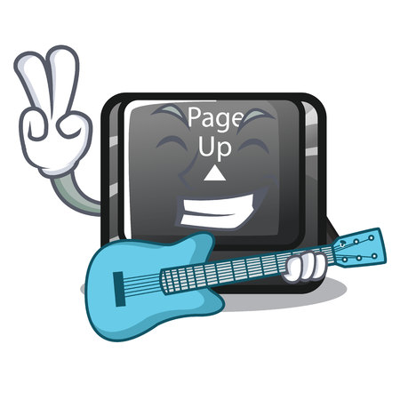 With guitar button page up on computer cartoon vector illustration Illustration