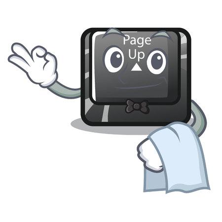 Waiter button page up on computer cartoon vector illustration Illustration