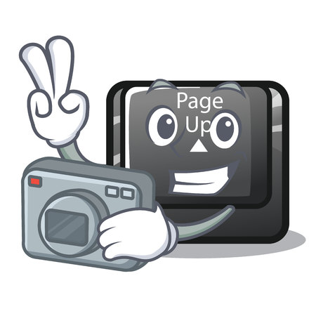 Photographer button page up on computer cartoon vector illustration