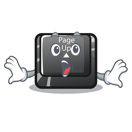 Surprised button page up on computer cartoon vector illustration