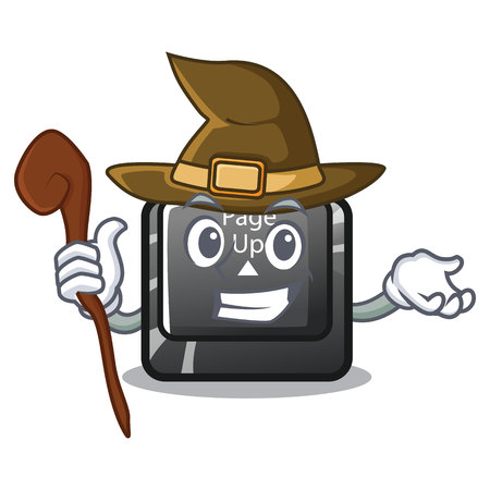 Witch button page up on computer cartoon vector illustration Illustration