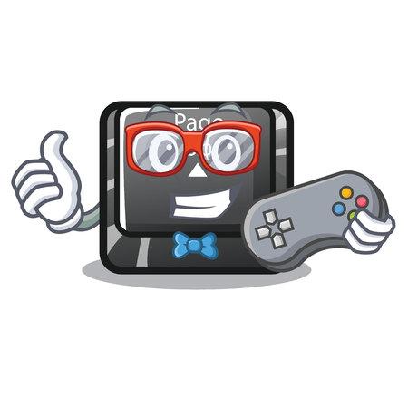 Gamer button page up on computer cartoon vector illustration Illustration
