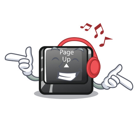 Listening music button page up on computer cartoon vector illustration Illustration