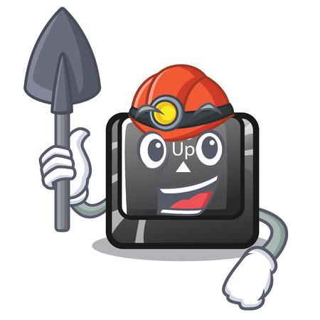 Miner button page up on computer cartoon vector illustration Illustration