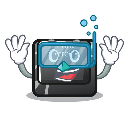 Diving button print screen in shape mascot vector illustration